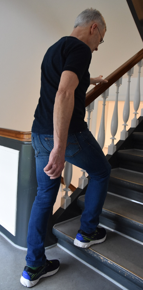 stepping on staircase